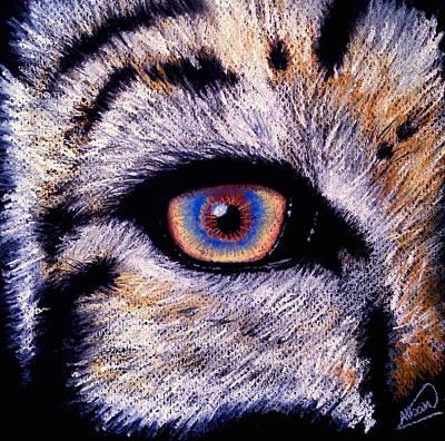 Animals Drawings - Eye of a Tiger by Alban Dizdari