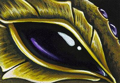Dragon Painting - Eye Of Deep Amethyst by Elaina  Wagner