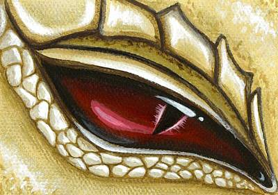 Dragon Painting - Eye Of Gold Dust by Elaina  Wagner