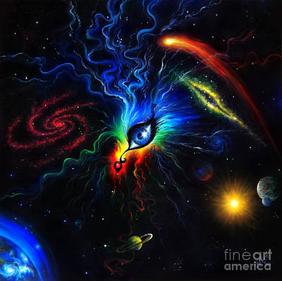 Planet Fantastic Painting - Eye Of The Creator Of Universe by Sofia Metal Queen