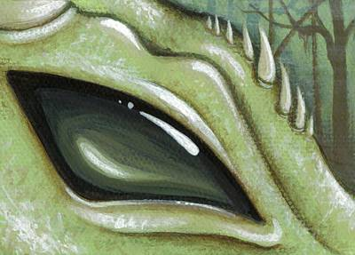 Dragon Eyes Painting - Eye Of The Moss Dragon by Elaina  Wagner