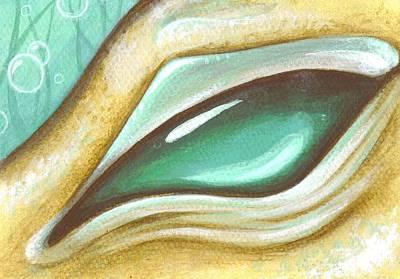 Sea Dragon Painting - Eye Of The Sea Dragon by Elaina  Wagner