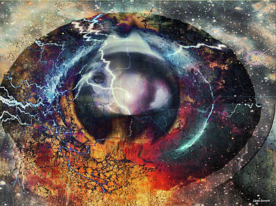 Print featuring the digital art Eye Of The Storm by Linda Sannuti