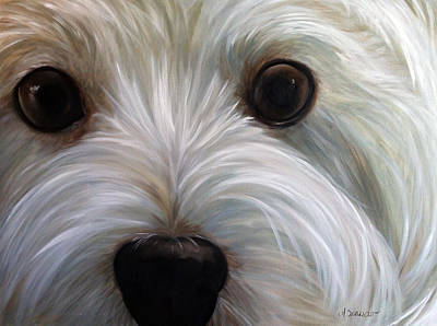 Westie Painting - Eye See You Too by Mary Sparrow