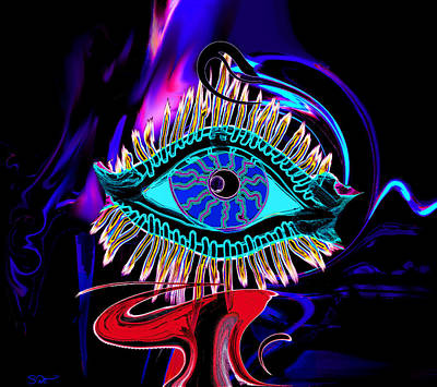 Psychedelic Painting - Eye See Your I by Abstract Angel Artist Stephen K