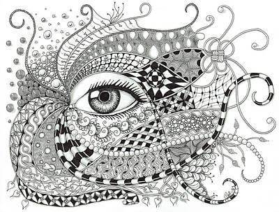 Wall Art - Drawing - Black And White Eye Tangle Art by Stefanie Van Leeuwen