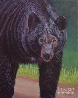 Danielle Smith Painting - Eye To Eye - Black Bear by Danielle Smith