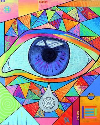 Love Triangle Painting - Eye With Silver Tear by Jeremy Aiyadurai