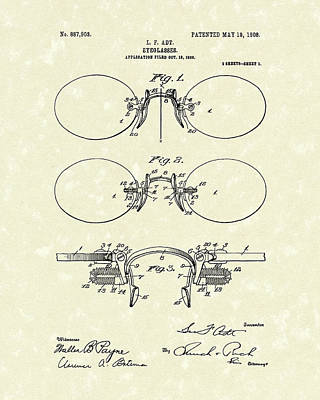 Glass Drawing - Eyeglasses 1908 Patent Art by Prior Art Design