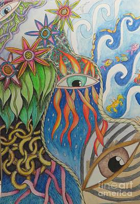 Blue Crab Drawing - Eyes And The Elements by Evie Hanlon