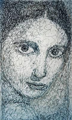 Contemplative Drawing - Eyes by Maria Valladarez