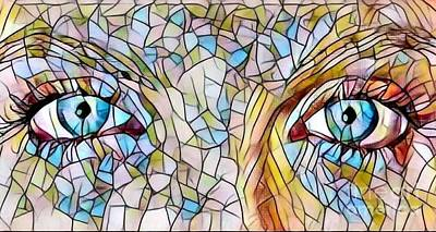 Eyes Of A Goddess - Stained Glass Art Print