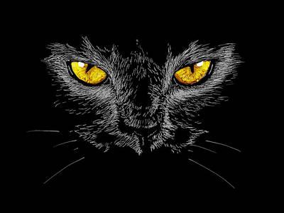 Painting - Eyes Of Black Cat by Masha Batkova