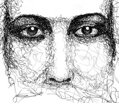 Drawing - The Eyes Of Jesus by Peter Cutler