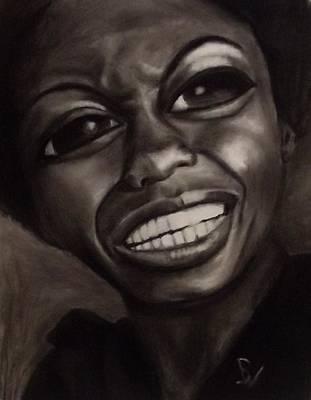 Famous Women Singers Drawing - Eyez Of Miss Simone by Bianca Walker