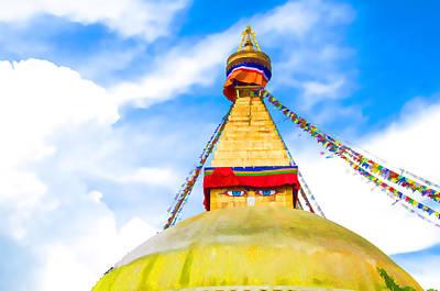 Tibetan Buddhism Painting - Eyes Of The Buddha by Lanjee Chee