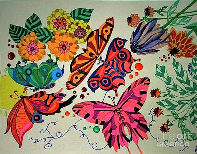 Painting - Eyes Of The Butterflies by Alison Caltrider