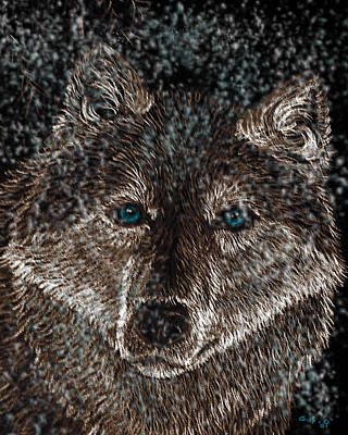 Wolf Drawing - Eyes Of The Snow Wolf by Nick Gustafson