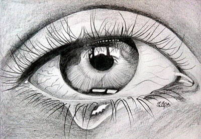 Tears Drawing - Eyes by Silpa Saseendran