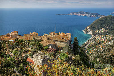 Arial View Photograph - Eze Cliff View Towards Mediterranean Sea by Liesl Walsh