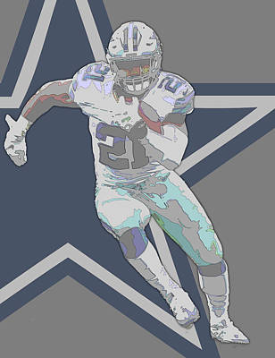 Mixed Media - Ezekiel Elliott Dallas Cowboys Contour Art by Joe Hamilton