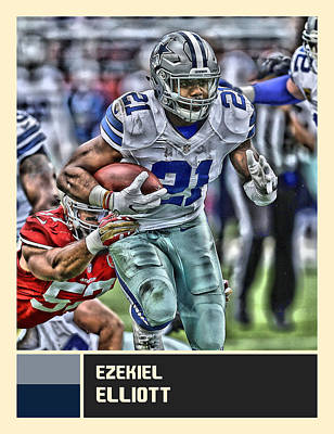 Dallas Cowboys Mixed Media - Ezekiel Elliott Dallas Cowboys by Joe Hamilton