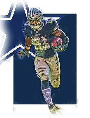 Mixed Media - Ezekiel Elliott Dallas Cowboys Oil Art Series 1 by Joe Hamilton