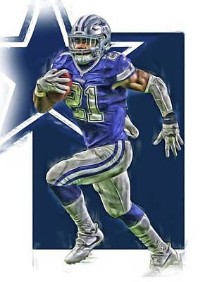 Mixed Media - Ezekiel Elliott Dallas Cowboys Oil Art Series 2 by Joe Hamilton