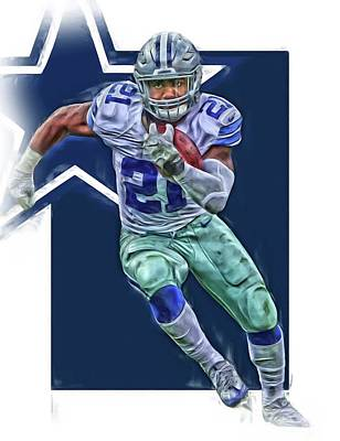 Mixed Media - Ezekiel Elliott Dallas Cowboys Oil Art Series 3 by Joe Hamilton