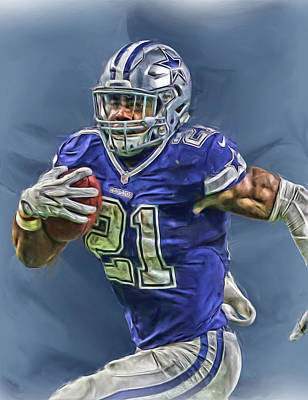 Team Mixed Media - Ezekiel Elliott Dallas Cowboys Oil Painting 2 by Joe Hamilton