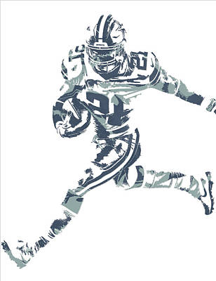 Mixed Media - Ezekiel Elliott Dallas Cowboys Pixel Art 26 by Joe Hamilton