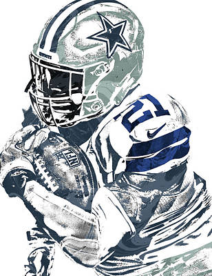 Dallas Cowboys Mixed Media - Ezekiel Elliott Dallas Cowboys Pixel Art 5 by Joe Hamilton