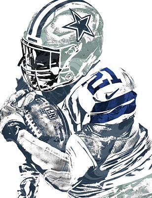 Art Print featuring the mixed media Ezekiel Elliott Dallas Cowboys Pixel Art 5 by Joe Hamilton