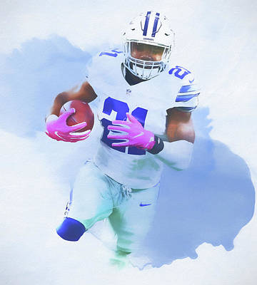 Ezekiel Elliott Watercolor Art Print