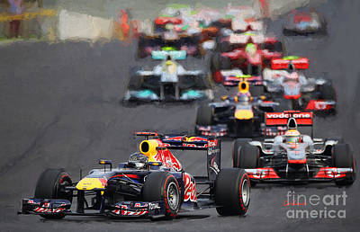 Racetrack Mixed Media - F-1 Racing by Garland Johnson