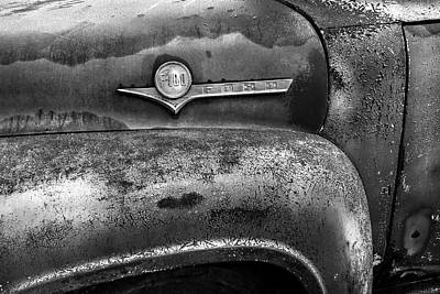 Photograph - F-100 Ford Black And White by Debra and Dave Vanderlaan