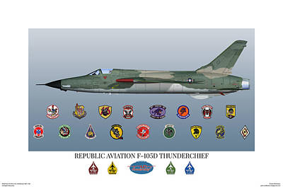 Digital Art - F-105d Thunderchief And Squadron Patches by John Matthews