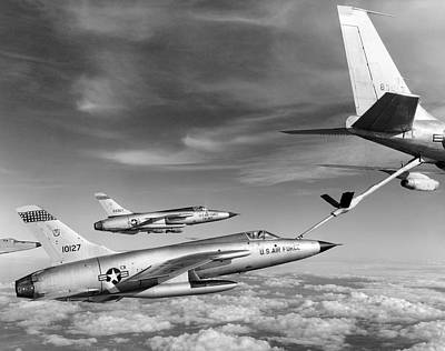 In Flight Photograph - F-105s Refueling In The Air by Underwood Archives