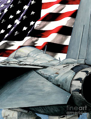 Painting - F-14 And Flag by Shari Nees