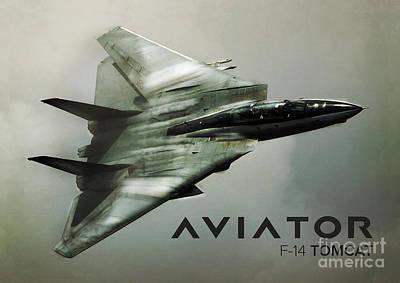Aviator Digital Art - F-14 Tomcat Fighter Jet by Fernando Miranda