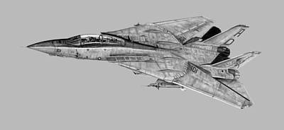 Fighter Jet Drawing - F-14 Tomcat Transparent Bknd by Dale Jackson