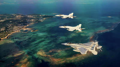 Photograph - F-15 Eagle And Navy Super Hornets Over The Japanese Coastline by Military Photos