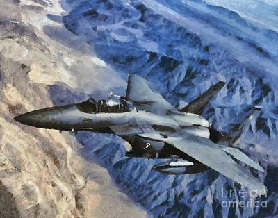 Hurricane Painting - F-15 Strike Eagle by Esoterica Art Agency