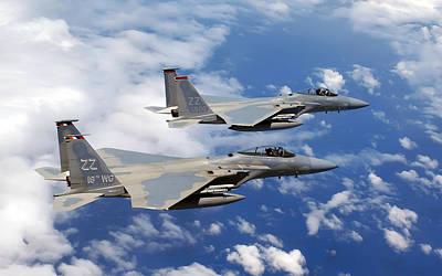 F-15c Eagle Digital Art - F 15c Eagles Flies Over Okinawa by F S