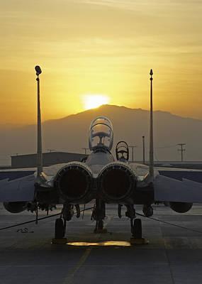 F-15e At Sunrise Art Print by Tim Grams