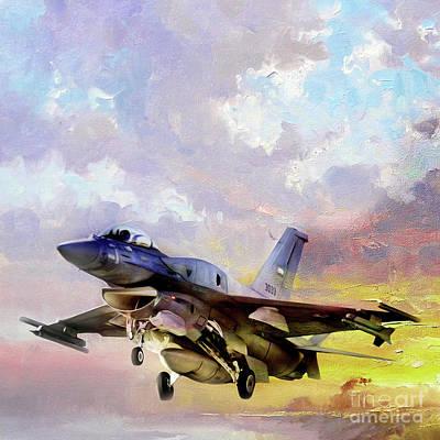 Lockheed Aircraft Painting - F 16 Air Craft 091 by Gull G
