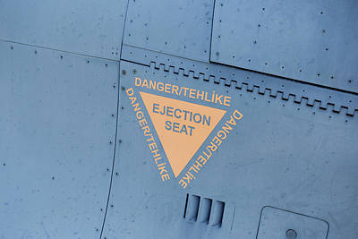 Photograph - F-16 Ejector Seat Warning Sign by David Pyatt