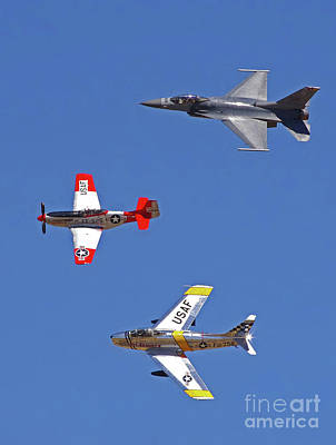 Photograph - F-16 P-51d F-86 Heritage Flight- Bank by Rick Bures