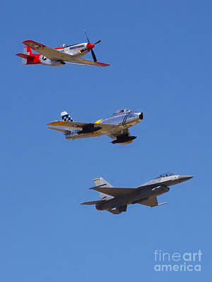 Photograph - F-16 P-51d F-86 Heritage Flight- Flyby by Rick Bures