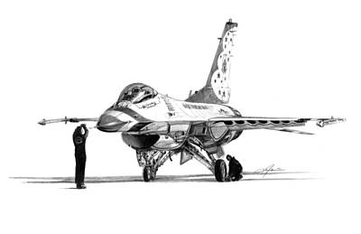 Fighter Jet Drawing - F-16 Thunderbird by Dale Jackson